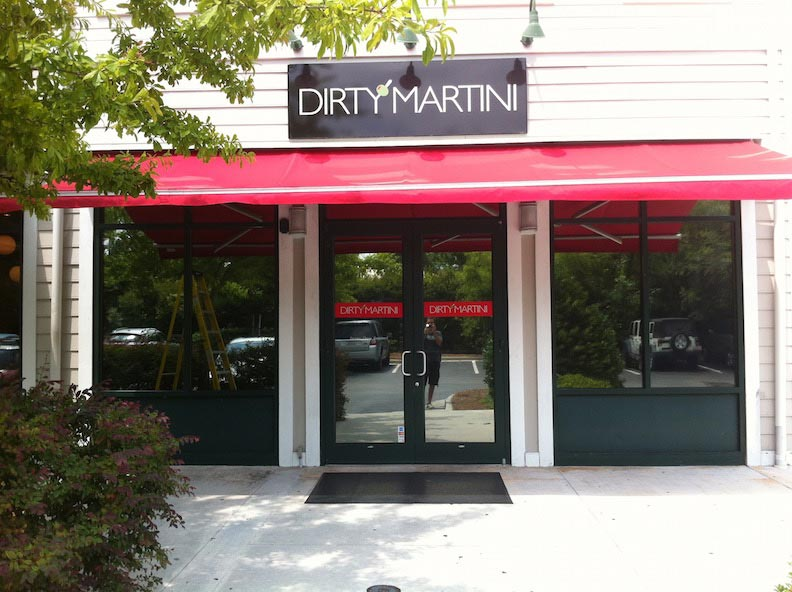 Aluminum Sign Door Vinyl Dirty Martini Print & Install
