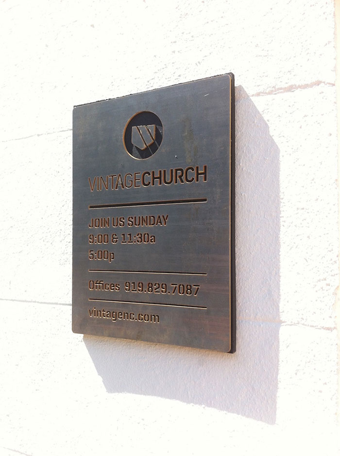 CNC Steel Vintage Church Print & Install