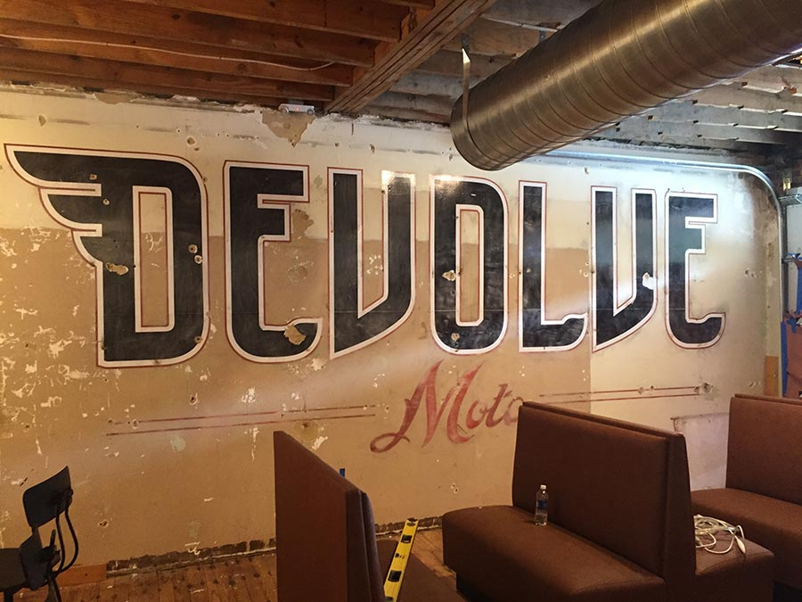 Devolve Distressed Wall Logo