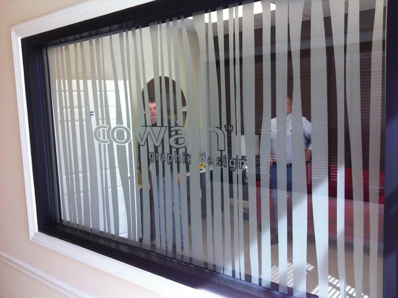 Etched Vinyl Cown Design, Print & Install